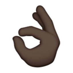 Black OK Hand Sign Emoji (U+1F44C, U+1F3FF) Okay Hand Emoji