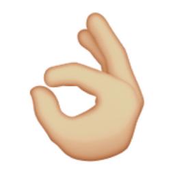 Light Brown OK Hand Sign Emoji (U+1F44C, U+1F3FC)  Okay Hand Emoji