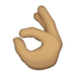 Olive Toned OK Hand Sign Emoji (U+1F44C, U+1F3FD)  Okay Hand Emoji
